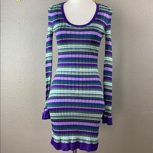 Marciano ribbed striped long sleeve mini dress